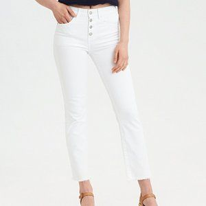 AE High-Waisted Button Front Crop Flare Jeans